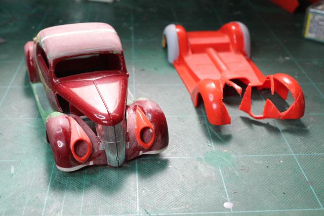 <1936 Ford Coupe 製作記> 37年ライト周りの移植