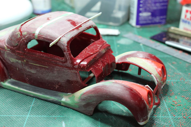 <1936 Ford Coupe 製作記> もう一度屋根を切る